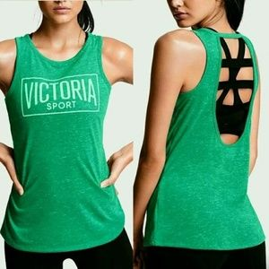 Victoria's Secret Sport Green Cage Back Tank Top